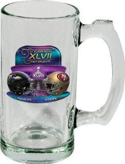 Super Bowl XLVII 47 Baltimore Ravens vs San Francisco 49ers NFL Football Dueling Glass Beer Mug  Drinkware Cups  Sports & Outdoors