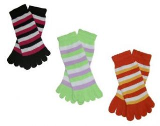 RSG Hosiery Funky Striped Toe Socks Kids/Children/Toddler 3 Pack (Sock Size 6 8, Shoe Size 8 13)(Black/Lime/Orange) Clothing