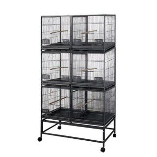 3 Level Cage with 3 Removable Dividers and 6 Units Color Pure White  Birdcages