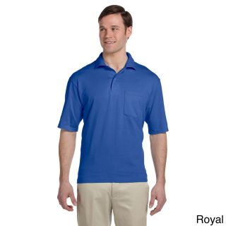 Jerzees Jerzees Mens Clean finished Pocket Polo Sport Jersey Blue Size XXL
