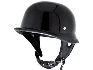 Gloss Black Low Profile German Half Helmet DOT Motorcycle EVOS Sport Street Bike Cruiser Scooter Snowmobile ATV Helmet   Large Automotive