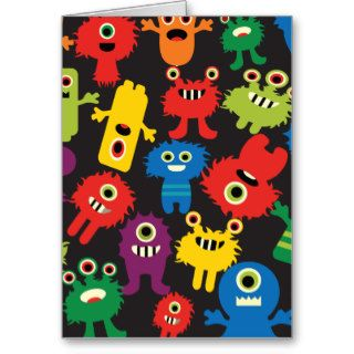 Colorful Crazy Fun Monsters Creatures Pattern Greeting Cards