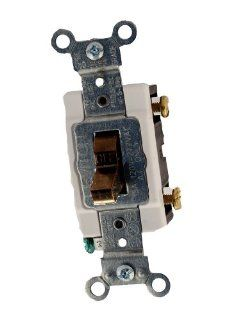 Leviton CS115 2 15 Amp, 120/277 Volt, Toggle Single Pole Ac Quiet Switch, Commercial Grade, Grounding, Brown   Wall Light Switches