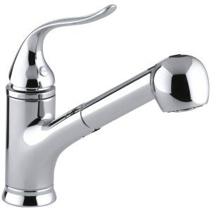 Kohler K 15160 CP Polished Chrome Coralais Single Handle Kitchen Faucet with Pul