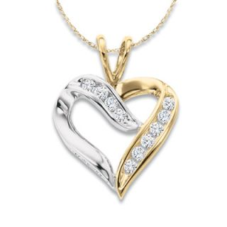 CT. T.W. Diamond Crossover Heart Pendant in 10K Two Tone Gold