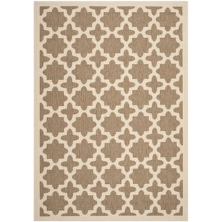 Safavieh Indoor/ Outdoor Courtyard Brown/ Bone Geometric Rug (4 X 57)