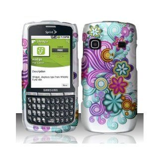 Purple Blue Flower Hard Cover Case for Samsung Replenish SPH M580 Cell Phones & Accessories