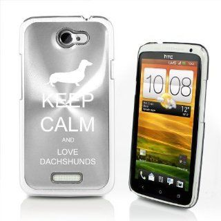 Silver HTC One X AT&T Aluminum Plated Hard Back Case Cover P609 Keep Calm and Love Dachshunds Cell Phones & Accessories