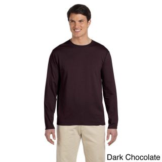 Gildan Mens Softstyle Cotton Long Sleeve T shirt Brown Size XXL