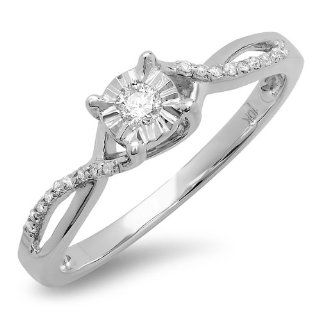 0.15 Carat (ctw) 10k White Gold Round Diamond Ladies Split Shank Bridal Engagement Promise Ring Jewelry