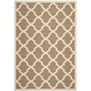 Safavieh Indoor/ Outdoor Courtyard Brown/ Bone Area Rug (53 X 77)