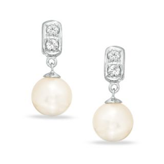 0mm Cultured Freshwater Pearl and White Topaz Drop Earrings in