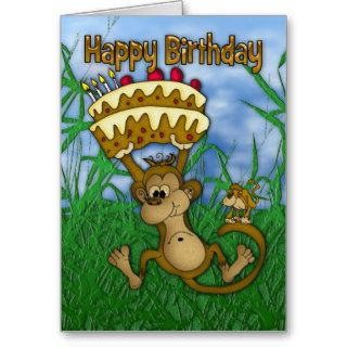 Happy Birthday with monkey holding cake Card