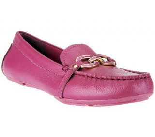 Isaac Mizrahi Live Leather Moccasins with Enamel Links —
