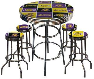 Shop Los Angeles Lakers Basketball Glass Top Chrome Bar Pub Table Set With 4 Swivel Bar Stools at the  Furniture Store. Find the latest styles with the lowest prices from The Furniture Cove