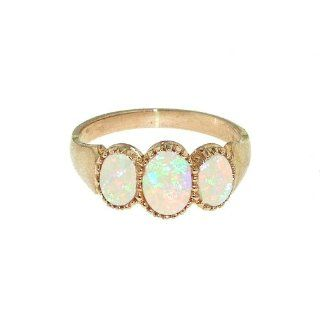 Luxury 9K Rose Gold Ladies Fiery Opal 3 Stone Ring   Finger Sizes 5 to 12 Available Jewelry