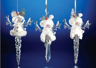 "Club Pack of 12 Icy Crystal Christmas Snowman Icicle Ornaments 8""   Decorative Hanging Ornaments"