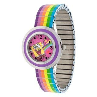 SpongeBob SquarePants SBP607 Watch with Silver Case and Rainbow Expansion Band Watches