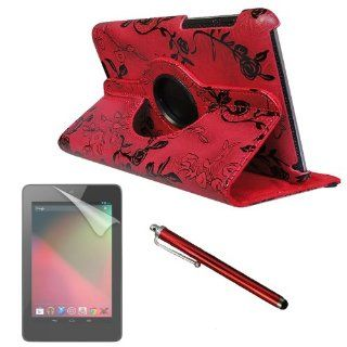 "For GOOGLE NEXUS 7"" (ASUS) FANCY PU Leather CASE COVER W/ Build in 360 Rotating Stand (DEEP RED) plus 2 SCREEN PROTECTORS and STYLUS. Microfiber Inner Computers & Accessories"