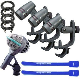 Sennheiser E604 3 Pack w/ AKG D112 Kick Drum Mic, XLR Cables & Cable Ties Musical Instruments
