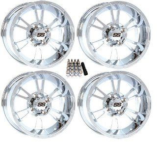 "ITP 12"" SS112 Chrome Golf Cart Wheels/Rims [12SS74] EZ GO/Club Car (4) Automotive"