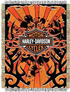 Harley Davidson, Inkburst 48 Inch by 60 Inch Acrylic Tapestry Throw by The Northwest Company   Throw Blankets