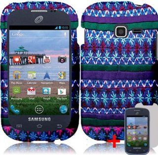 SAMSUNG GALAXY DISCOVER S730G BLUE PURPLE AFRICAN DESIGN RUBBERIZED COVER SNAP ON HARD CASE + SCREEN PROTECTOR from [ACCESSORY ARENA] Cell Phones & Accessories