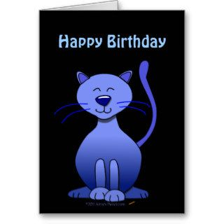 Cute Blue Smiling Cat Happy Birthday Card