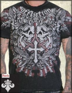Affliction Lucky Angels & Cherubs Short Sleeve Tee Shirt in Black Lava Wash   UP TO XXXL / 3XL at  Men�s Clothing store
