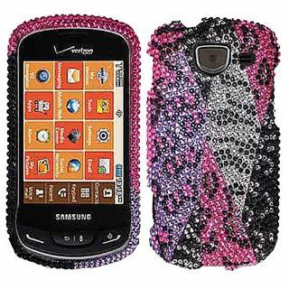 Purple Pink Silver Cheetah Bling Rhinestone Crystal Case Cover Diamond Faceplate For Samsung Brightside U380 w/ Free Pouch Cell Phones & Accessories