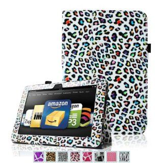 "Fintie  All New Kindle Fire HDX 8.9"" Folio Case Slim Fit Leather Cover   Leopard Rainbow (will only fit Kindle Fire HDX 8.9 Tablet 2013 Model) Electronics"