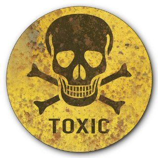 Toxic Warning Tin Metal Steel Sign, Skull Crossbones Symbol, Vintage Rusted Design  14 inches diameter [AYY032]   Decorative Signs