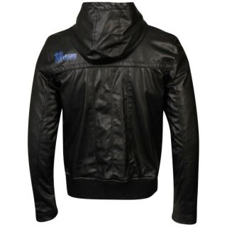 Crosshatch Mens Leather Look Contract Hooded Jacket   Black/Blue      Clothing