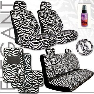 Brand New Yupbizauto Brand Premium Grade Zebra Print Front and Rear Seat Covers Set with Steering Wheel Cover, Seat Belt Covers, a Set of 4 Floor Mats and Travel Size Purple Slice Total 16 Pieces Automotive