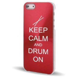 Apple iPhone 5 5S Rose Red 5C623 Aluminum Plated Hard Back Case Cover Keep Calm and Drum On Cell Phones & Accessories