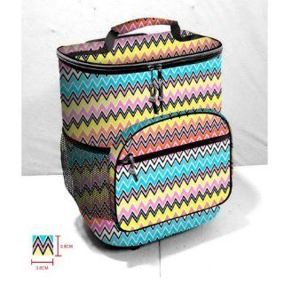 Colorful Zig Zag Print Insulated Rolling Cooler Bag with Telescoping Handle, 16 inch, 21 quart Wheeled Cooler