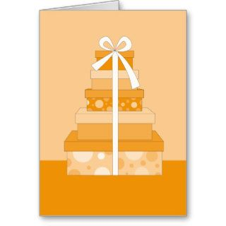 orange happy birthday gift greeting card