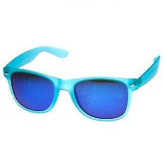 zeroUV�   Color Frosted Soft Touch Color Mirror Lens Wayfarer Sunglasses (Blue) Clothing