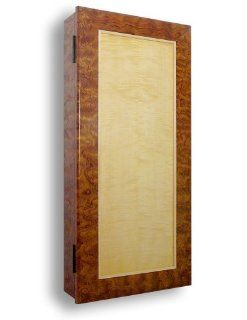 "Wall Mounted Jewelry Armoire Cabinet Bubinga and Curly Maple Wood, 30"", Handcrafted in the USA"