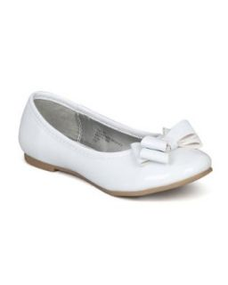 Little Angel Carley 658E Ribbon Bow Ballerina Flat (Toddler/Little Girl/ Big Girl)   White Patent PU Flats Shoes Shoes