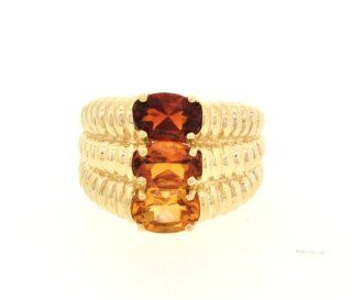 10K Yellow Gold Red, Orange and Yellow Topaz Ring Jewelry