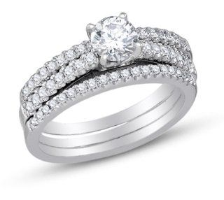 14K White Gold Three 3 Rings Prong Set Round Brilliant Cut Diamond Bridal Engagement Ring w/ Matching Wedding Band & Anniversary Ring Three 3 Ring Set   Classic Traditional Solitaire Shape Center Setting   (1.00 cttw.   .50ct. Center Stone) Jewelry