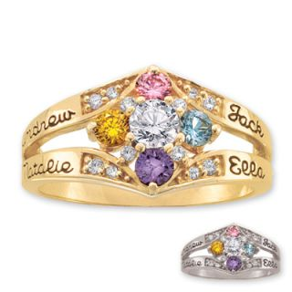 Ladies 10K Gold Daydream Cubic Zirconia Accent Birthstone Ring by