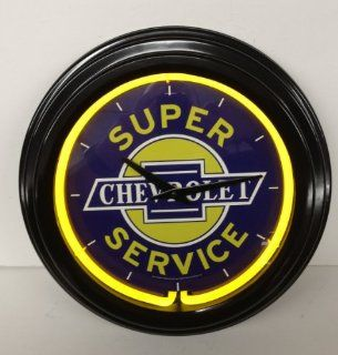 CHEVROLET SUPER SERVICE NEON CLOCK Wall Art Sign Decor Corvette Camaro Chevelle MAN CAVE Father's Day Gift  Other Products