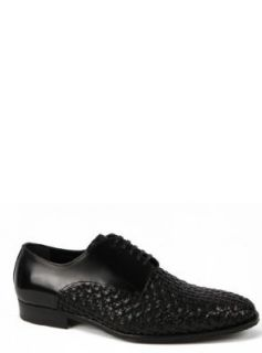 Dolce & Gabbana Mens Dress Shoes in Black Woven Leather D0450 Shoes