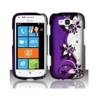 Purple Silver Flower Hard Cover Case for Samsung Focus 2 SGH I667 Cell Phones & Accessories