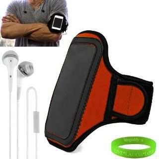 Windows Phone 8X by HTC (All Carriers, Unlocked) Smart Phone Neoprene Exercise Armband ( Orange ) with Sweat Resistant Lining , Velcro Strap Extender , Key Pocket and Excess Earphone Cord Holder + VanGoddy Wrist Band + White Earbud Earphones with Remote fo