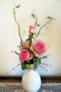 Pink Confetti Rose Bud Vase Arrangement   Artificial Mixed Flower Arrangements