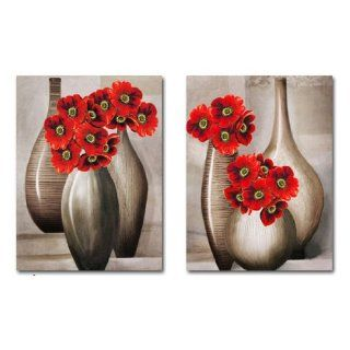 Art Vases With Red Flowers 3d Cross Stitch Kit   29.9inch By 19.3inch (Set of 2)