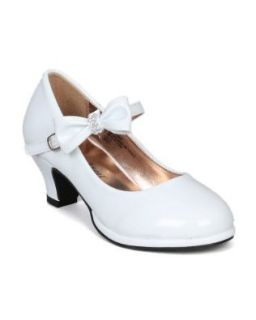 Little Angel Tasha 685E Patent Bow Mary Jane Pump (Toddler/Little Girl /Big Girl)   White (Size Little Kid 2) Shoes